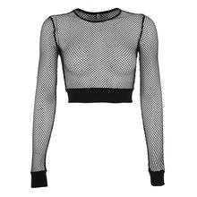 Sexy Navel T Shirt Women 2019 Summer Mesh Hollow See Through Club Cropped Tops Streetwear Black Slim Gothic Long Sleeve T Shirts(China)