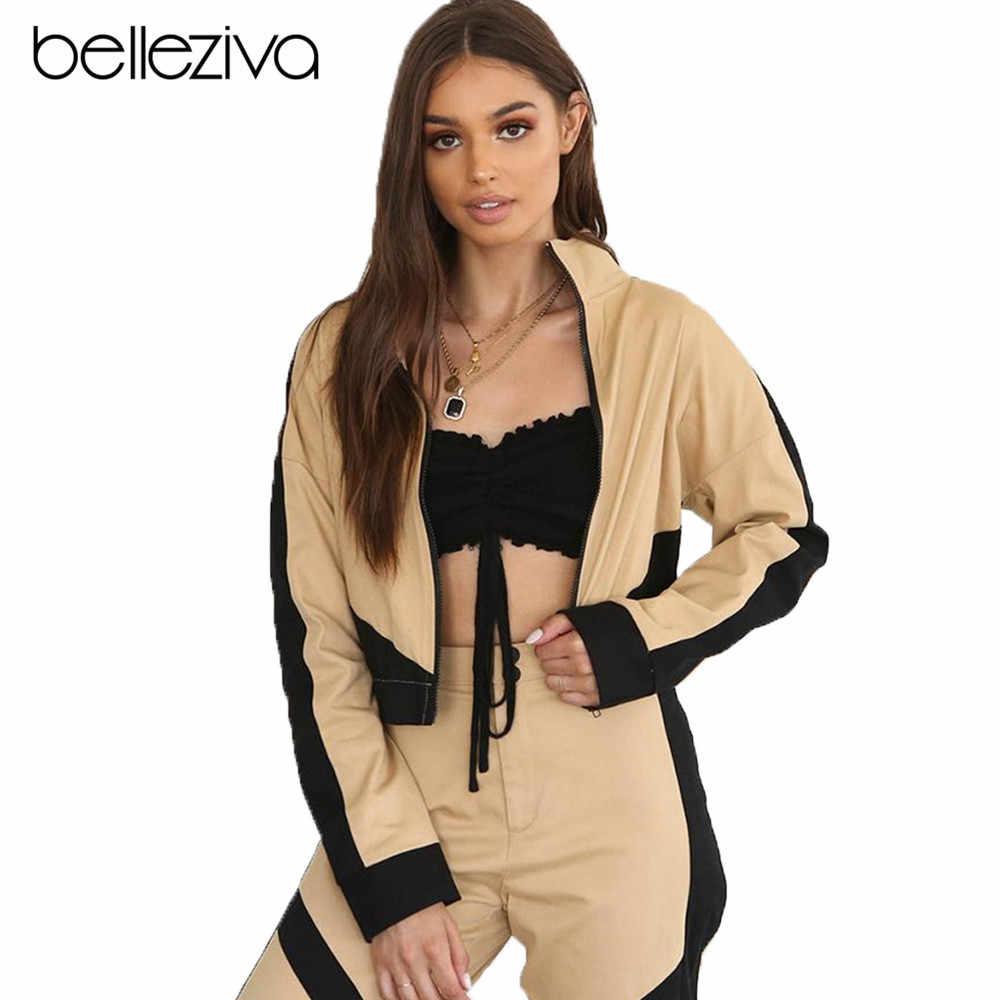 Belleziva ラペルジップジャケットランニングジャケット女性フィットネスジム屋外スポーツスーツトップ女性スポーツウェアワークアウトの服新加入