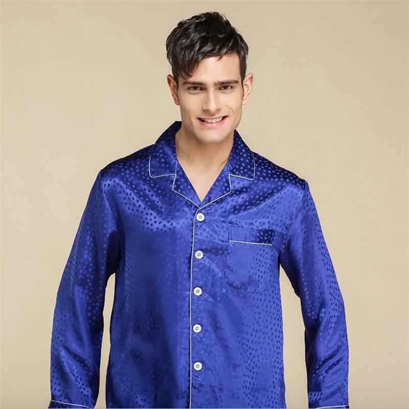 IANLAN сезон: весна–лето настоящие мужские шелковые пижамы комплекты Мужской 100% шелк Ночная Сорочка сна топы и штаны одежда для сна IL00459