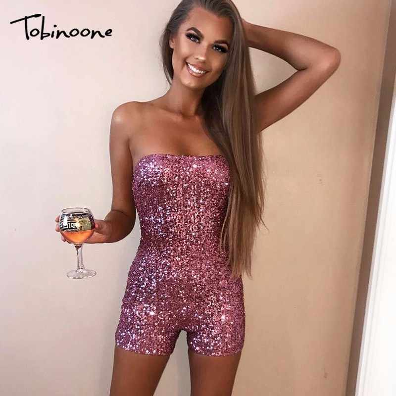 8c35c355c8b8 Tobinoone New Strapless Sequin Bodycon Sexy Rompers Womens Jumpsuit  Backless Party Jumpsuits For Women 2018 KylieJenner