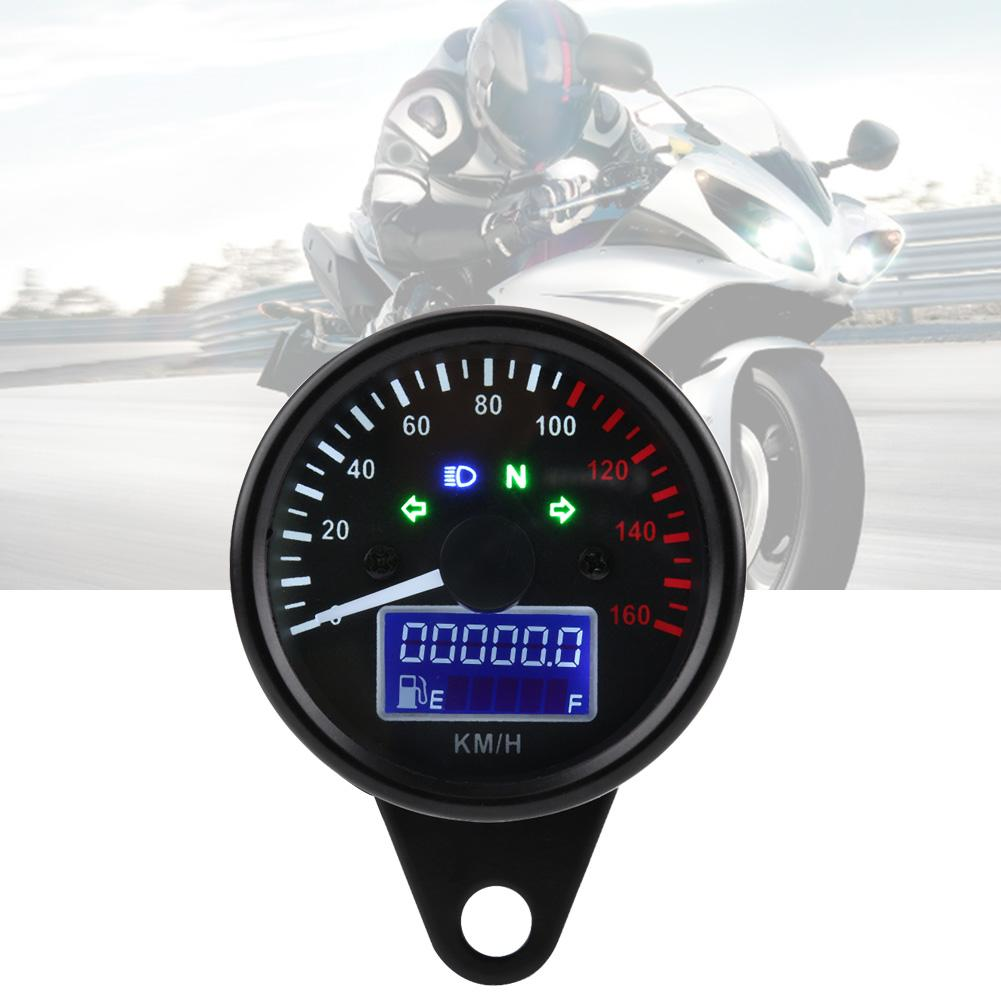 Universal Motorcycle Speedometer 0~160KM/H Motorcycle Digital LED LCD Speedometer Tachometer Speed Gauge Retro Black