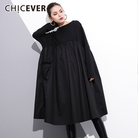 CHICEVER Dress Female Loose Oversize High Waist Slash Neck Autumn Black A Line Long Dresses For Women 2018 Fashion Tide New