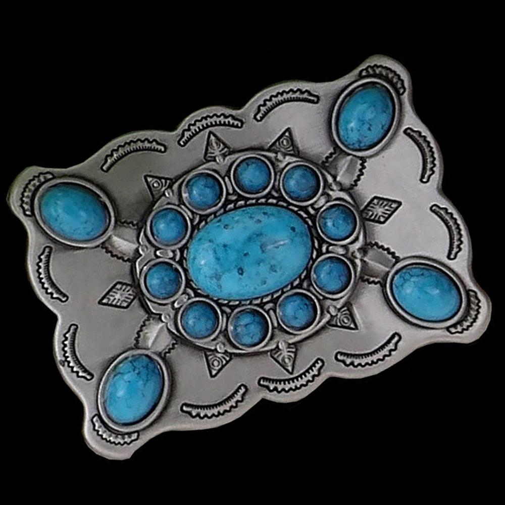 FAJARINA Unique Design Embossed Turquoise Decorative Silver Electroplating Smooth Man Model Buckles for Men Freeshipping BCK045
