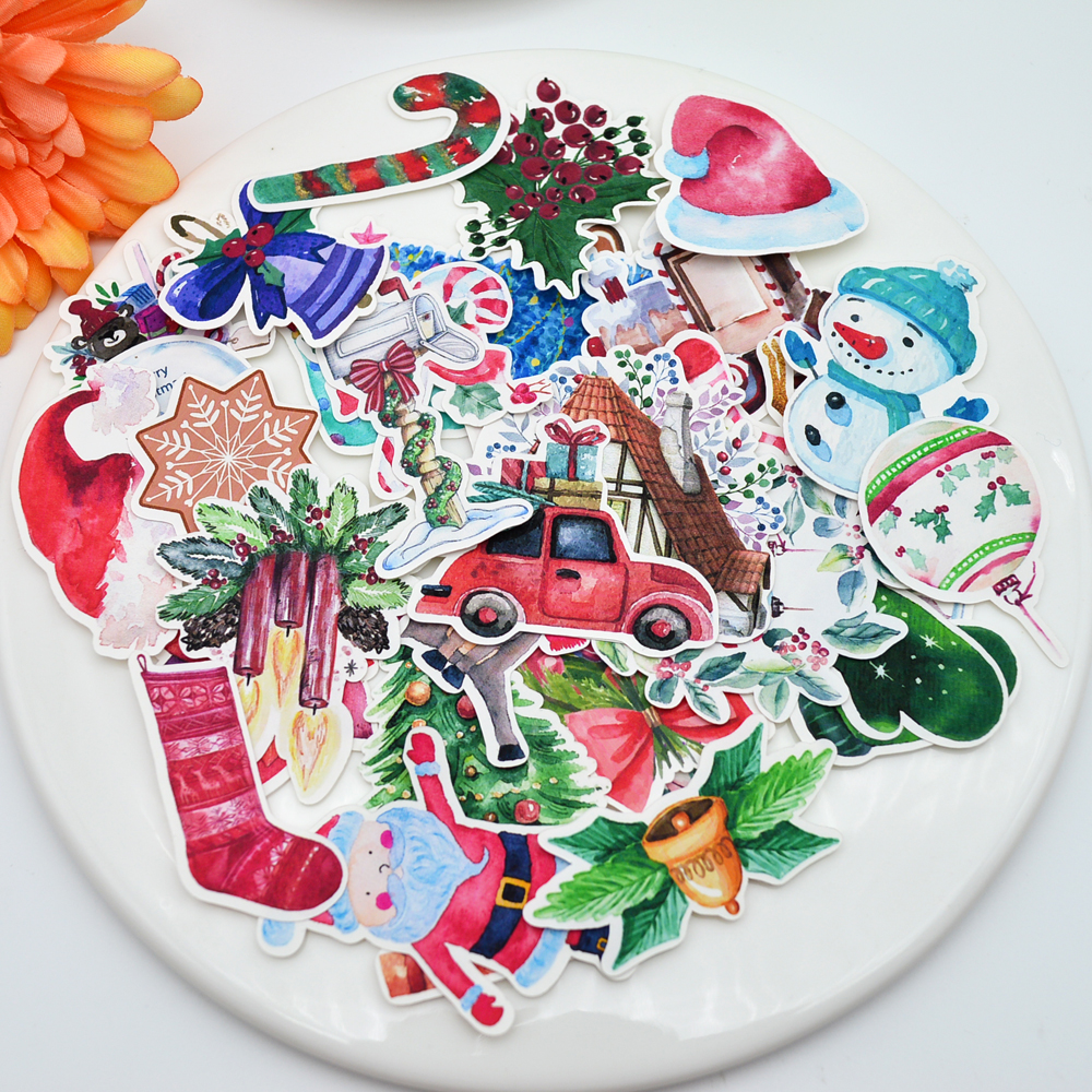52pcs Colorful Christmas sticker Kawaii Santa Claus New Year Gift Stick/%o