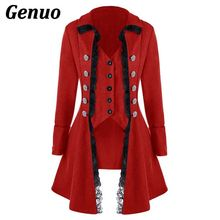 Genuo Lace Trim Long Medieval Jackets Gothic Lady Cosplay Women Autumn Winter Solid Sleeve Three-Breasted Irregular Dress
