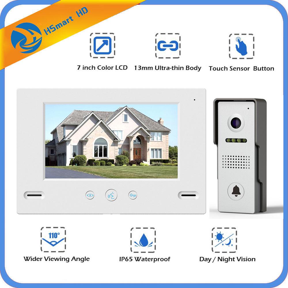 7 Wired Video Door Phone System Visual Intercom Doorbell 800x480 Monitor HD 700TVL Waterproof Outdoor Camera