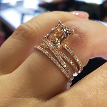 Jewelry Gemstone Women Wedding Size 5-11 New 3Pcs/Set 18K Rose Gold Ring(China)