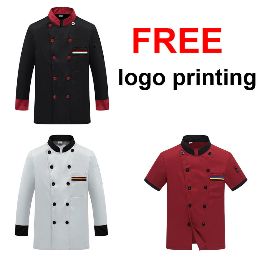 Chef Uniform Costume Breathable Food Service Top Free Logo Printing Short&full Sleeve Restaurant Kitchen Man Shirt Clothing image