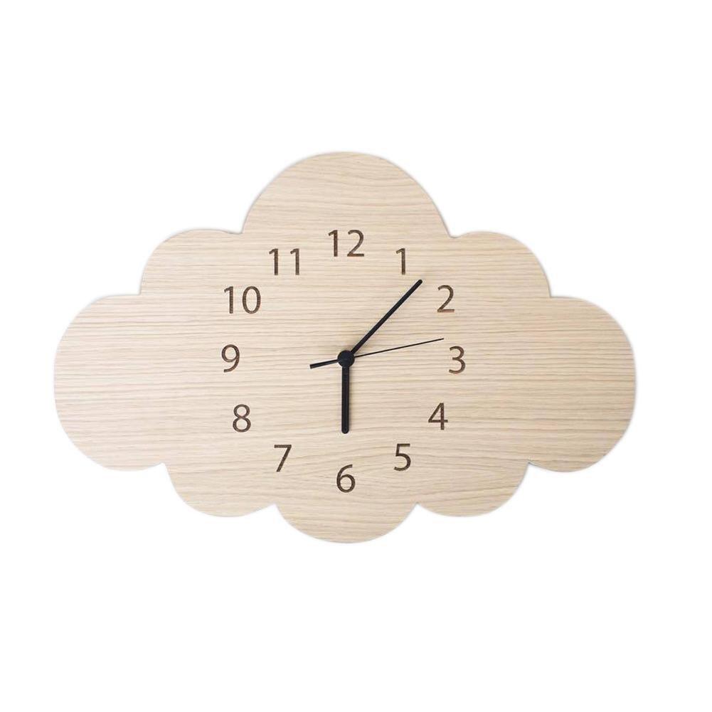 1PC Simple INS Nordic Cloud Shape Wooden Mute Wall Clock Bedroom Kids Room Home Decoration Reloj De Pared Duvar Saati