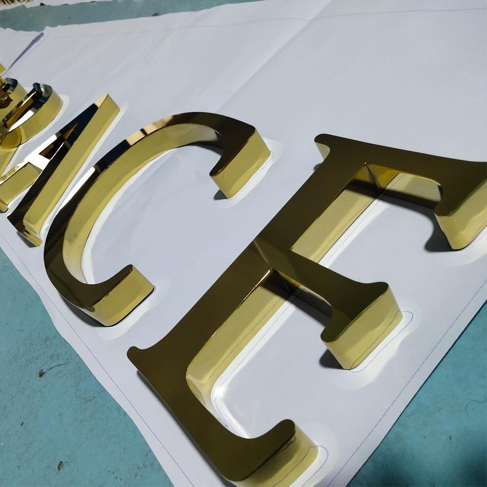 Golden Chromed polished stainless steel shop front sign
