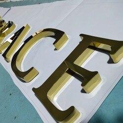 Gouden Verchroomde gepolijst roestvrij staal winkel teken