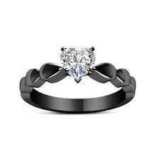 18K Black Multi-tone Heart Crystal Ring Luxury Eight Arrow Gun Color Bague Etoile for Women Bizuterias