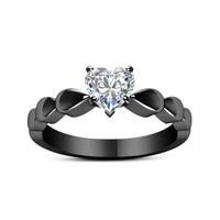 18K Black Multi tone Heart Crystal Ring Luxury Eight Heart Eight Arrow Black Gun Color Bague Etoile Ring for Women Bizuterias