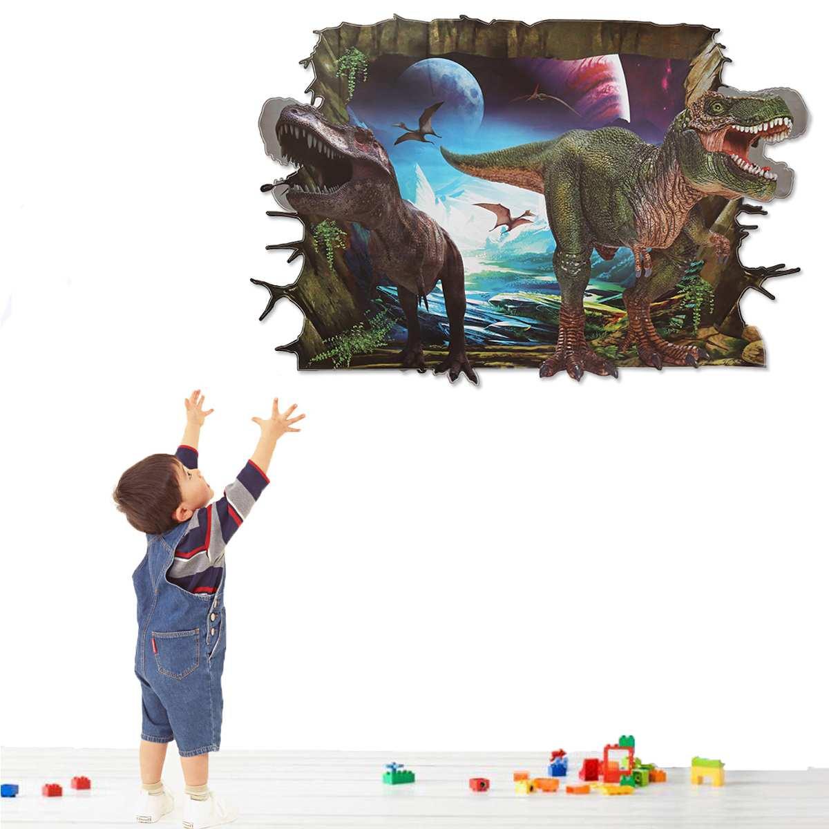60x90cm 3D Stereoscopic Animal Dinosaur Wallpaper Home Children Room Painting Backdrop Wallpaper Art Mural Wall Paper Sticker