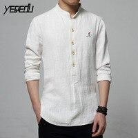 #4462 Spring White/Navy Blue Vintage Embroidery Linen Shirt Men Mandarin Collar Plus Size 5XL 6XL Casual Mens Shirts