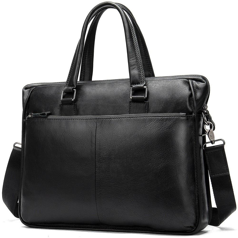 Briefcase Laptop-Bag Crossbody-Bag Handbags-Cowhide Travel Genuine-Leather Men's Brown