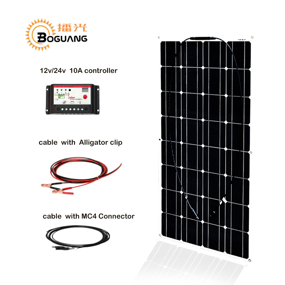 Boguang 100w Monocrystalline silicon solar panel cell module 12V/24V/10A controller 1*2.5mm cable MC4 connector junction box