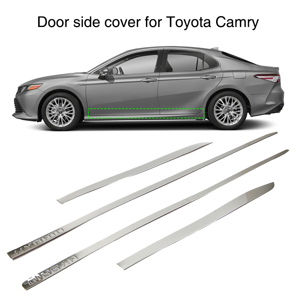 Car Body Door Side Line Cover Strip Exterior Molding Trim Guard For Toyota Camry 2018 Silver Stainless Steel 4PcsCar Body Door Side Line Cover Strip Exterior Molding Trim Guard For Toyota Camry 2018 Silver Stainless Steel 4Pcs