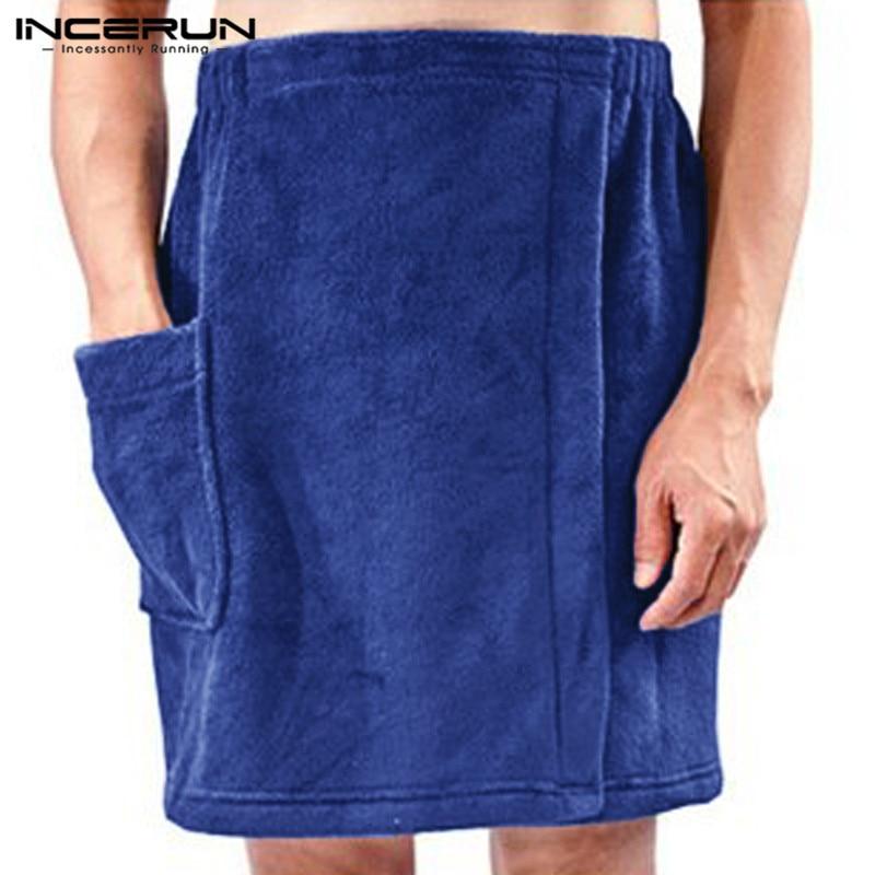 INCERUN Men Bath Towel Skirts Shower Elastic Waist Pockets Blanket Solid Fashion Soft Beach Bath Skirts Men Bathrobes 2020 S-5XL