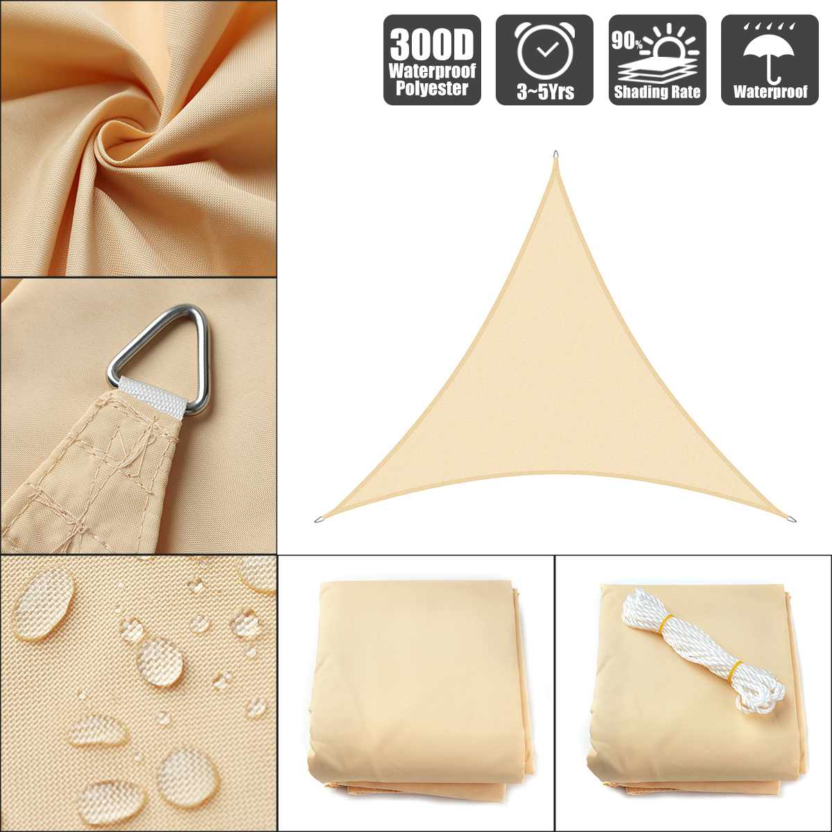 3.6x3.6x3.6 4x4x4 5x5x5  Beige 300D 160GSM Polyester Oxford Fabric Shade Sail Sun Outdoor Triangle|Shade Sails & Nets| |  - title=