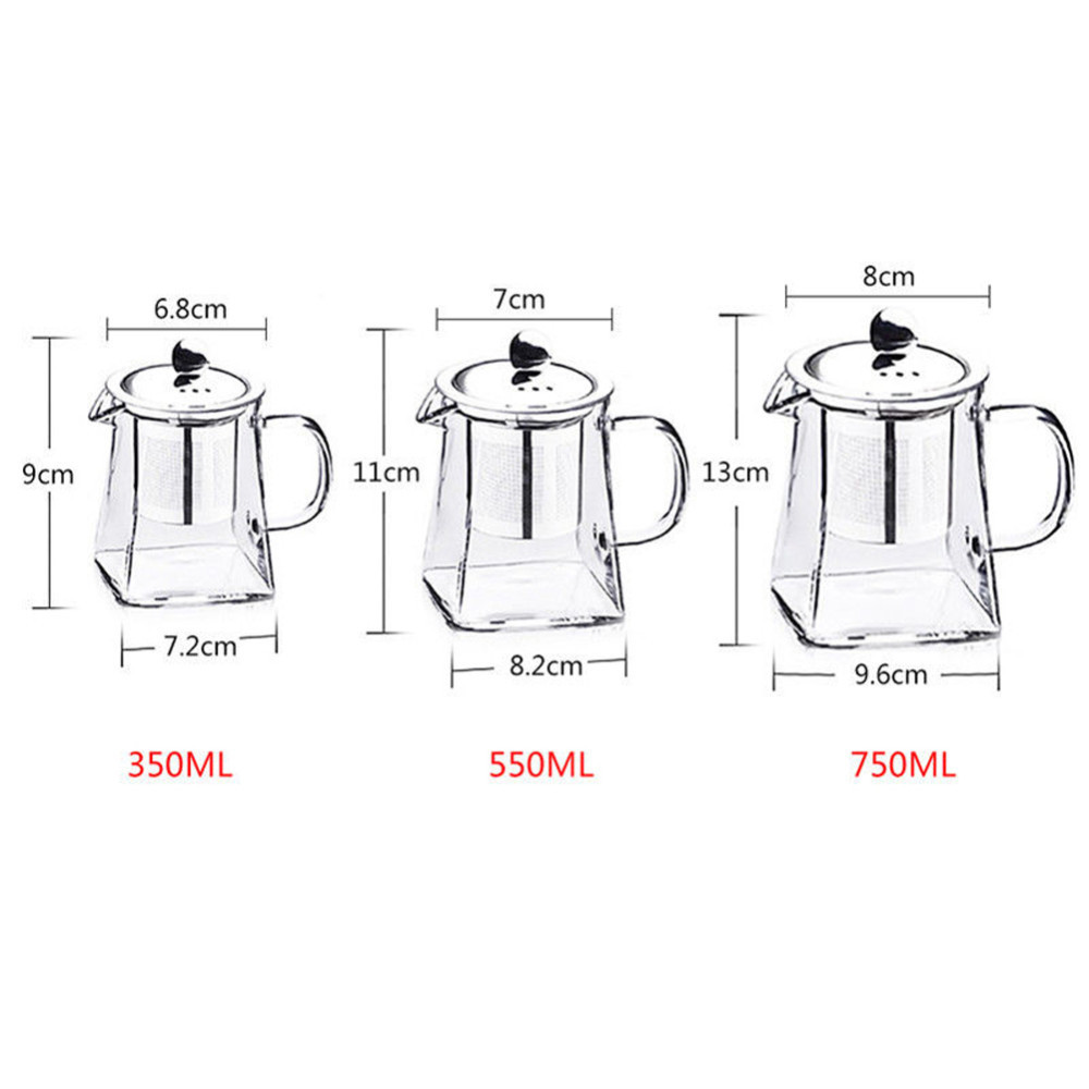 Infuser Filter Glass Teapot Set Heat Resistant Glass Stainless Steel Filtering Tea Pot Square Flower Container Home Office B4 in Teapots from Home Garden