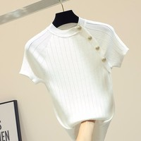 Knitted short sleeve t shirt women summer 2019 new arrivals slim white tops fashion S,M,L
