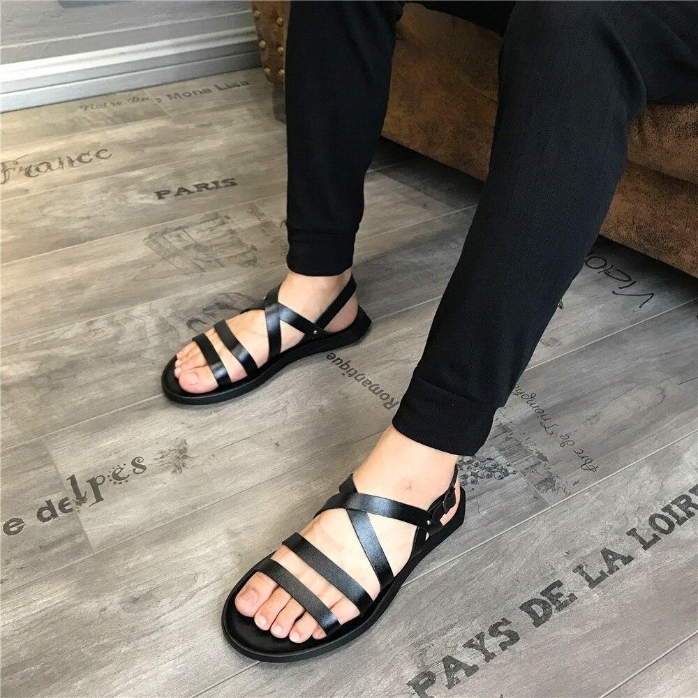 Praia Quente Sapatos De Verão Venda Homens Sandálias Preço Plana Gladiadores Dos Lazer Calcanhar Couro Barato Macio XZvzqwvP