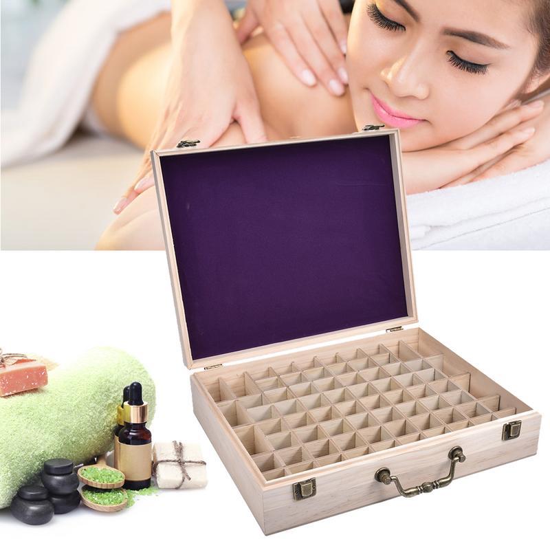 Boîte de bouteille d'huile en bois à 72 fentes boîte aromathérapie organisateur essentiel cadeaux protéger du soleil endommageant Durable résistant à la Corrosion