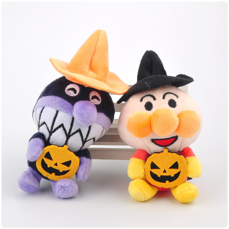 12cm Soft Stuffed Halloween Pumpkin Bread Superman Plush Keychain Bag Xmas Pendants Doll Backpack Phone Ornament Mini Doll New image