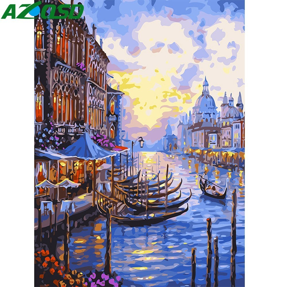 AZQSD Oil Painting By Numbers Venice Diy Digital Paint Drawing Coloring By Number Canvas Hand Painted Modular Picture Wall DecorAZQSD Oil Painting By Numbers Venice Diy Digital Paint Drawing Coloring By Number Canvas Hand Painted Modular Picture Wall Decor