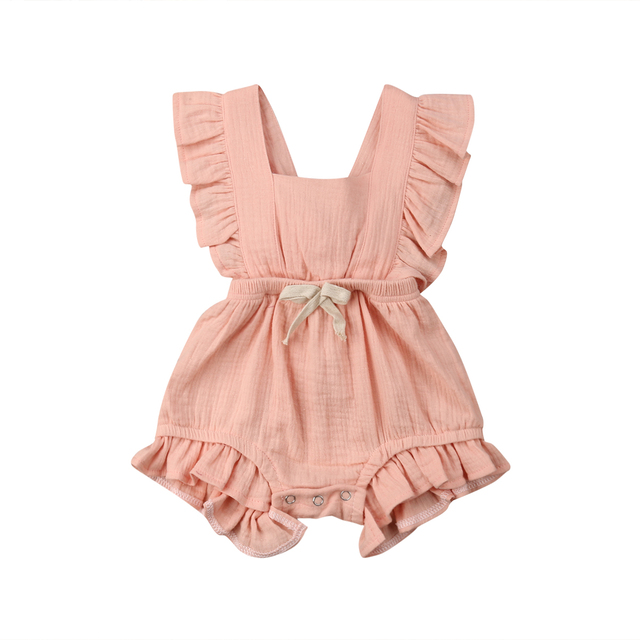 6 Color Cute Baby Girl Ruffle Solid Color Romper  Jumpsuit Outfits Sunsuit for Newborn Infant Children Clothes Kid Clothing 3