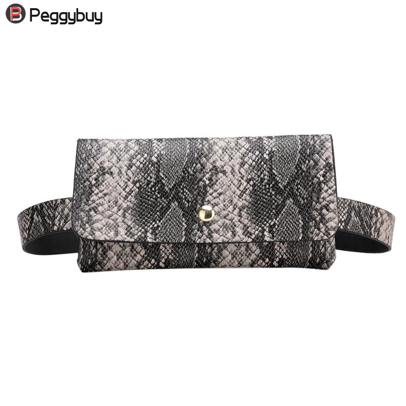 Snake Pattern Waist Bags Fanny Belt Packs Phone Pouch Women Flap PU Leather Crossbody Casual Messenger Chest Bags Mujer
