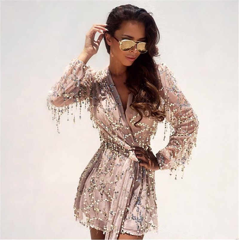 ec684ba61dd1 Sex Women Bodysuit Summer Playsuit Gold Sequined Jumpsuits Chic Short  Fringed V-Neck Rompers Fashion
