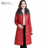 2019 зимняя куртка Женские топы из натуральной кожи с утиным пухом одежда с лисьим мехом воротник длинный тонкий элегантный высокое качество