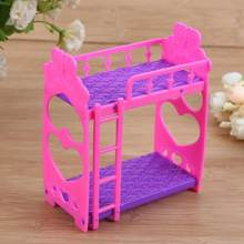 7pcs Cute Dolls House Furniture Plastic Bunk Bed Play House Toys Girl Gift Mini Doll house bed pretended toys for children(China)