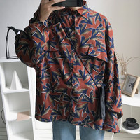 2019 Spring And Summer New Couple Models Plant Print Tip Collar Sunscreen Loose Long sleeved Shirt Brown / Green M XL