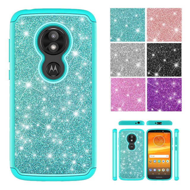 hot sale online ace73 d2ea4 Fashion Phone Cases for Motorola Moto E5 Play Moto E5 Cruise Case Glitter  Crystal Sequins Silicone PC Dual Layer Cover Fundas
