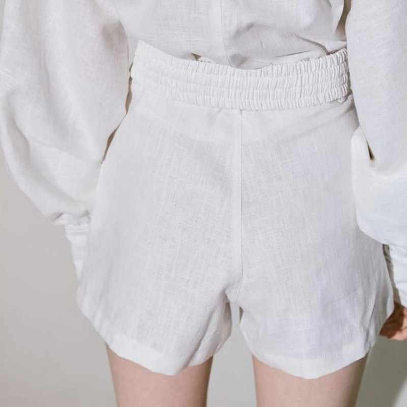 TWOTWINSTYLE White Shirt Shorts Women Two Piece Sets Lantern Sleeve Blouse Female High Waist Shorts Suits Spring Fashion Clothes