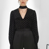 Runway Velvet Blouses Designer Office Women Black Long Sleeve Polka Dot Shirt Runway Tops