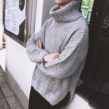 Winter New High Collar Sweater Men Thick Warm Fashion Knit Pullover Man Solid Color Simple Casual Male Clothes Streetwear