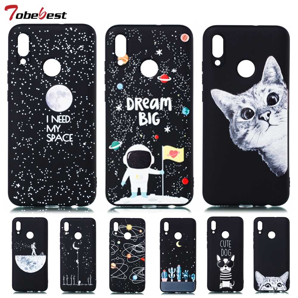 3D Painted Starry Sky Silicone Soft Case For Huawei P smart 2019 Case Matte Universe Moon Cute Cat Ultra Thin Black Cover