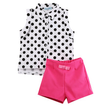 Pudcoco Baby Girl Summer Clothes Polka Dot Sleeveless Blouse Shirt and Pink Shorts 1-6 Years цены онлайн