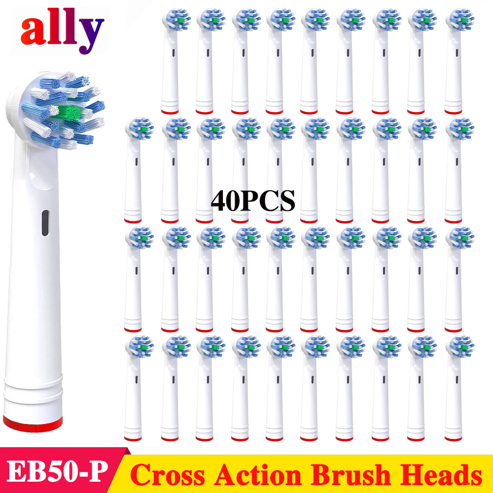 40X Cross Action toothbrush heads For Braun Oral B Vitality Triumph Professional Care 1000 2000 Electric toothbrush heads image