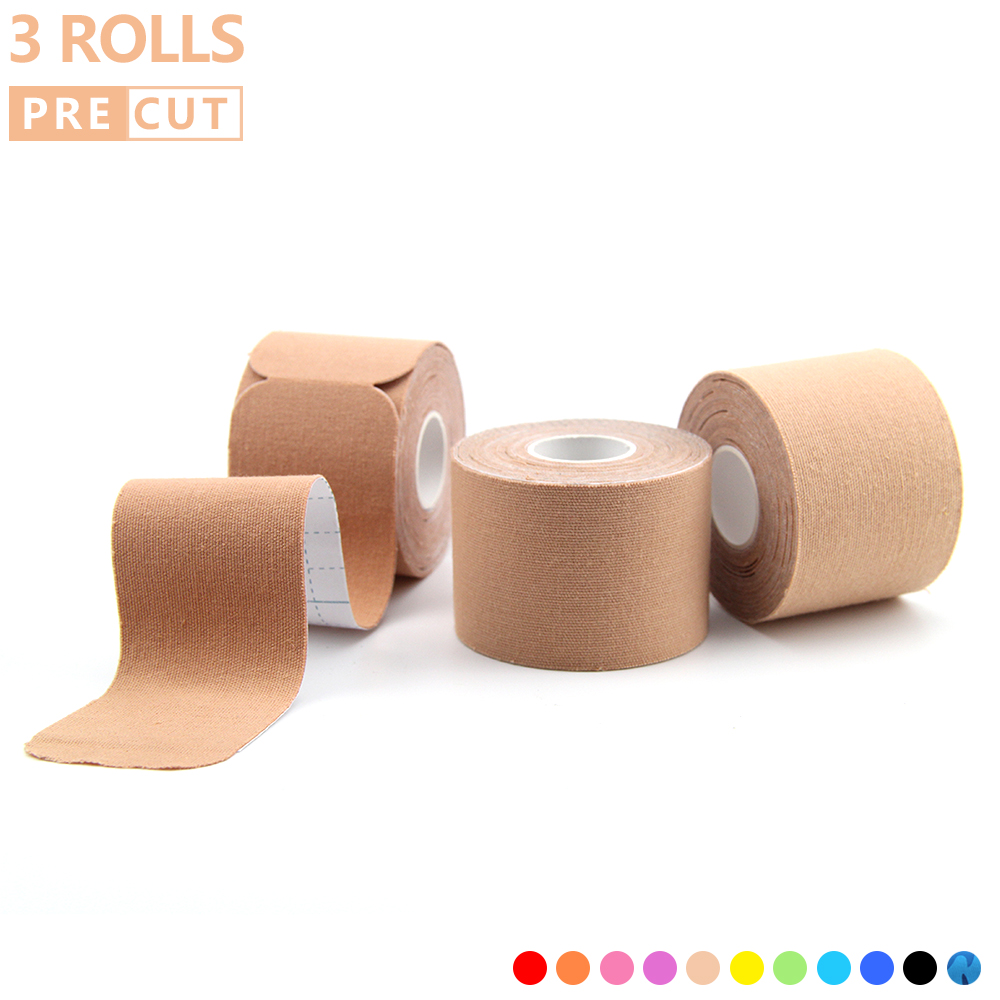 3 Rolls Precut Kinesiology Tape Muscle Bandage Elastic Adhesive Cotton Waterproof Sports Physio Cure Injury Support 5cm*5m