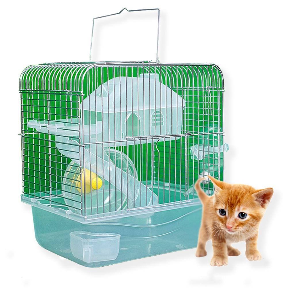 LanLan Stainless Steel Pet Cage Transparent Crystal Color Hamster Cottage Double Layer House For Hamster Golden Hamster Pet