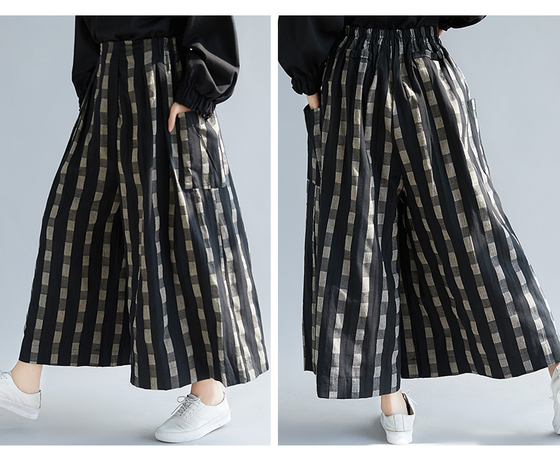 Plus Size Women Wide Leg Pants Autumn Linen Vintage Long Pants Plaid 2018 Oversized Elastic Waist Large Pantalones 5xl 1