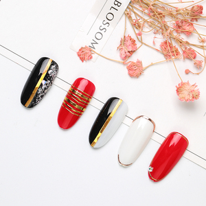 Image 4 - 1pc gold 3D nail sticker curve stripe lines nail stickers adhesive stripe band Nail Art stickers stickers Rose gold silver