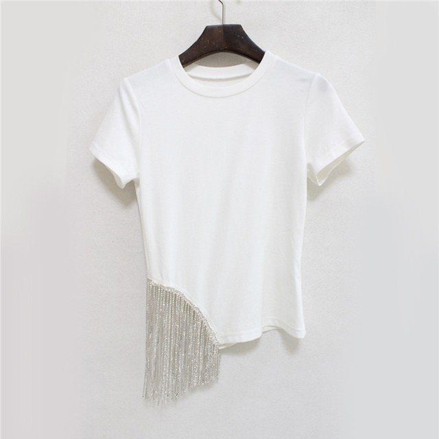 TWOTWINSTYLE Casual Solid Women T Shirt Diamonds Tassel Patchwork O Neck Short Sleeve Tops Female Fashion 2019 Summer Korean New 3