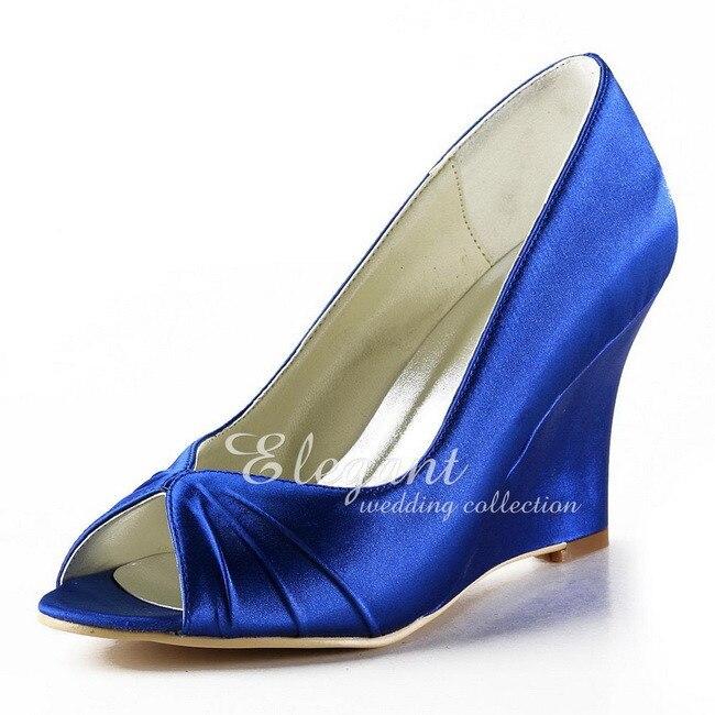 여성 웨지 하이힐 웨딩 신부 신발 편안한 신부 숙녀 새틴 파티 파티 드레스 펌프 블루 아이보리 ep2009-에서여성용 펌프부터 신발 의  그룹 1