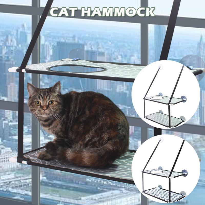 Afneembare Duurzaam Kat Hangmat Venster Baars Balkon Zuignap Stijl Opknoping Zonnige Bed Huisdier Metalen Frame Zachte Matten Lange Levensduur